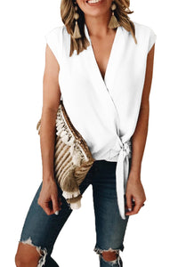 White Surplice Bowknot Tank Top