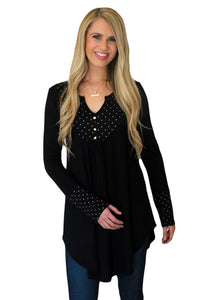 Black Polka Dot Peasant Tunic