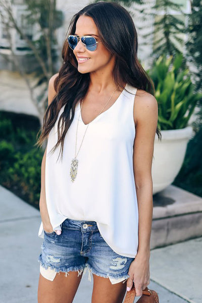 White Sexy Summer Essential Tank Top