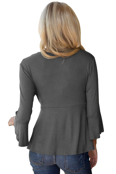 Gray Bell Sleeve Wrap Front Tunic