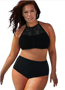 Black Patterned Mesh Insert Plus Size Swimwear