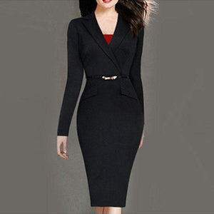 POPHERS Stylish Lapel Flap Pockets Bodycon-Dress