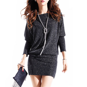 POPHERS Sparkling Boat Neck Batwing Sleeve Bodycon Dress