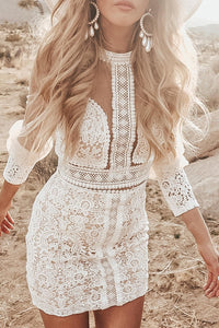 POPHERS White Lace Sheer Bodycon Two-piece Dress