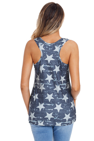 Navy Camouflage Stars Stripes Flag Tank Top with Pocket