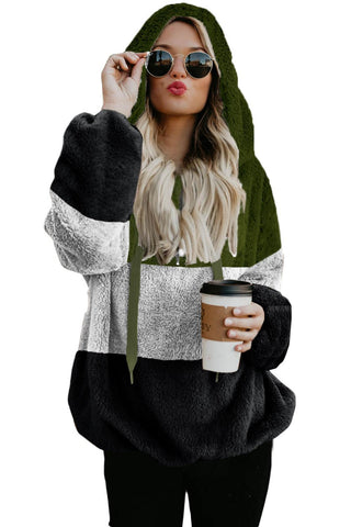 Green Colorblock Soft Fluffy Hoodie