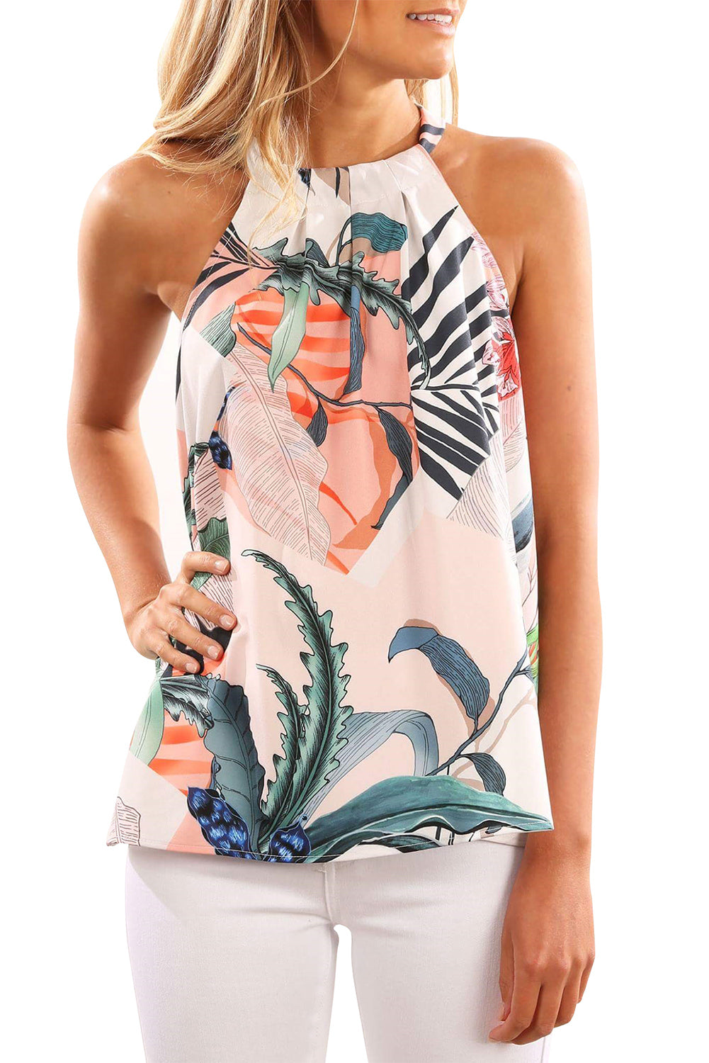 Sky Blue Sleeveless Flower Printed Tank Top