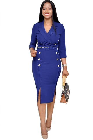 Blue Three-Quarter Sleeve Knee Length Notched Lapel Pencil Dress
