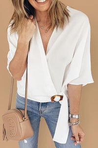 POPHERS White Buckle Wrap Crop Top