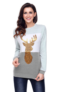 Charcoal White Grey Colorblock Gold Reindeer Top