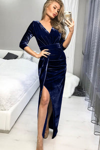 Blue Deep V Neck Ruched Side Slit Party Velvet Dress
