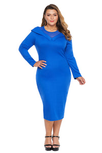 Blue Mesh Neck Patchwork Plus Size Midi Dress