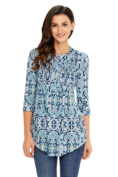 Blue Floral Notch Neck Pin-tuck Tunic