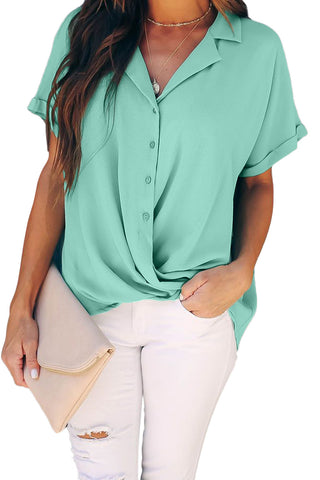 Green Road To Success Button Down Drape Blouse