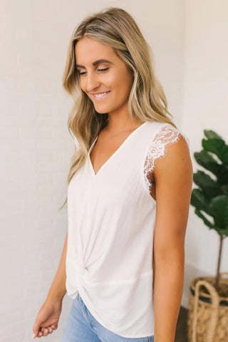White Lace Cap Sleeve Twisted Knot Top