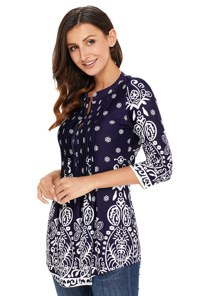 Navy Blue Floral Notch Neck Pin-tuck Tunic