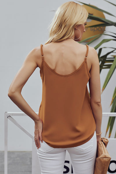 Orange Spaghetti Strap Buttoned Tank Top