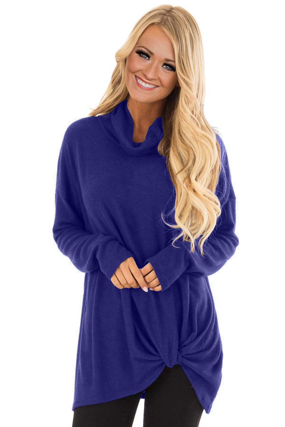 Royal Blue Knot Hem Detail Cowl Neck Top