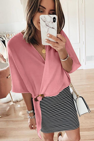 POPHERS Pink Buckle Wrap Crop Top