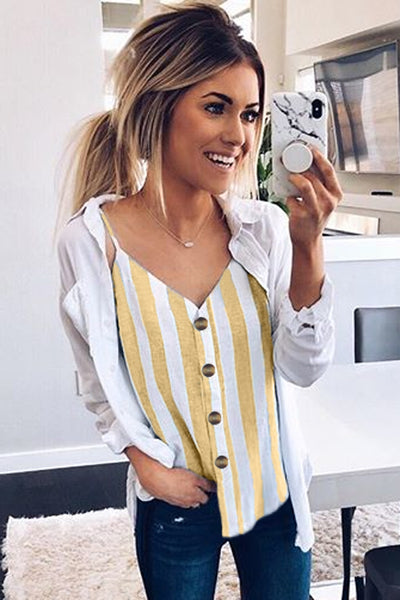 Yellow Button Up V Neck Strappy Shirt Cami Top