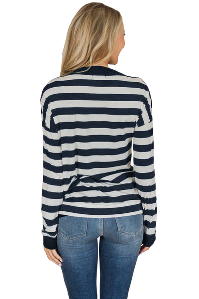 Button On Shoulders Navy Striped Long Sleeve Top