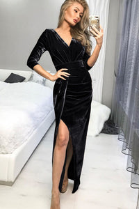 Black Deep V Neck Ruched Side Slit Party Velvet Dress