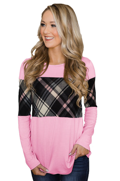 Pink Long Sleeve Plaid Top