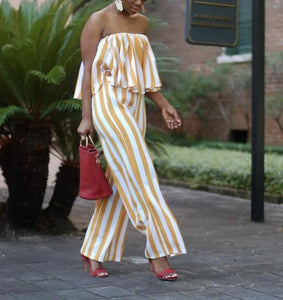 POPHERS Stripe Print Off Shoulder Casual Jumpsuits