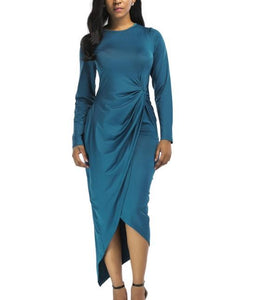 POPHERS Solid Color Irregular Pleated Plus Size Bodycon Dress