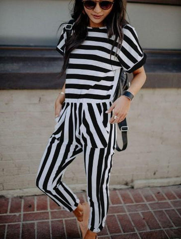 POPHERS Stripe Short Sleeve Round Collar Casual Long Jumpsuits