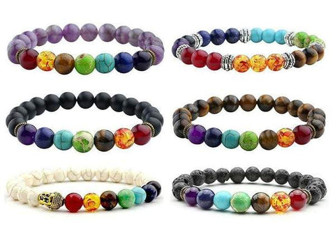 7 Chakra Natural Stone Lava Healing Beads Reiki from Almas Collections