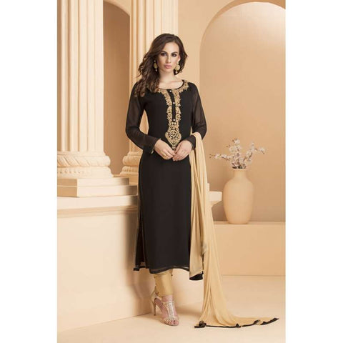 AC-156 BLACK AND GOLDEN GEORGETTE STRAIGHT CUT READY MADE SUIT