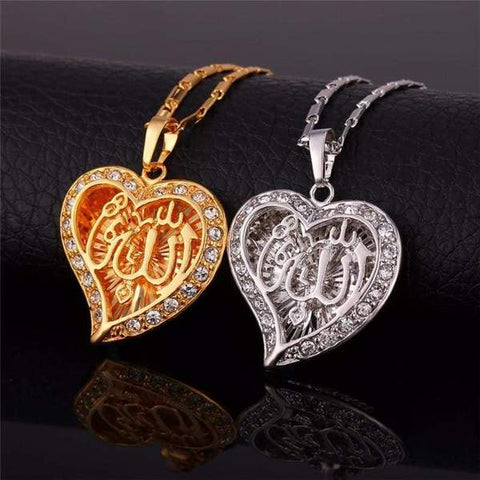 Allah Heart Necklaces & Pendants Silver/Gold Color Rhinestone from Almas Collections