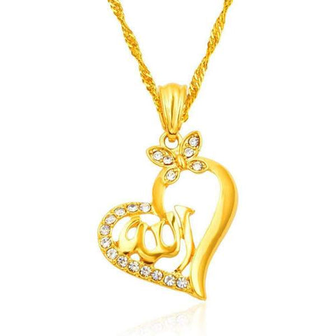 Allah Love Heart Gold-color Pendant Necklace from Almas Collections