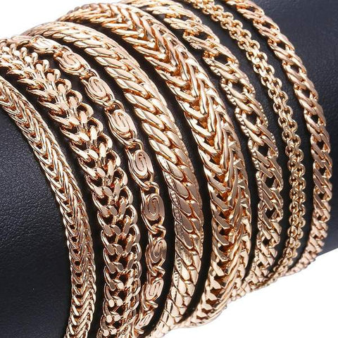 Almas Rose Gold 20cm Curb, Snail, Foxtail, Venitian & Link Chains Bracelet for Men and Women from Almas Collections