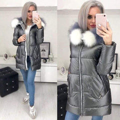 Big Fur Hooded Winter Jacket in Gray color