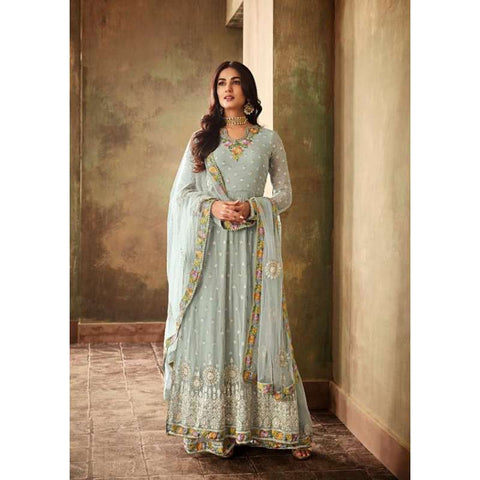 CHALKED SERENITY BLUE INDIAN PALAZZO STYLE PARTY WEAR SUIT