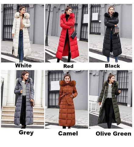Long Down Parka Winter Coat for Women from Almas Collections