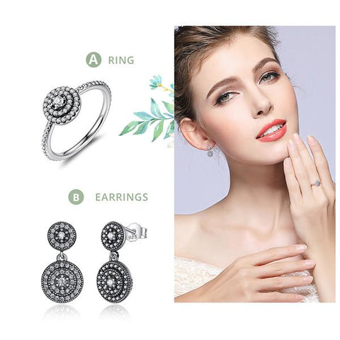 New 925 Sterling Silver Drop Earrings Clear CZ Crystals Surrounded Ancient Silver Set from Almas Collections