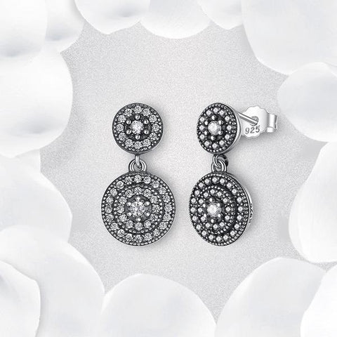 New 925 Sterling Silver Drop Earrings Clear CZ Crystals Surrounded Ancient Silver from Almas collections