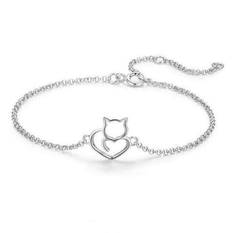 New 925 Sterling Silver Love Cats Link Chain Bracelets & Bangles in Silver Color from Almas Collections