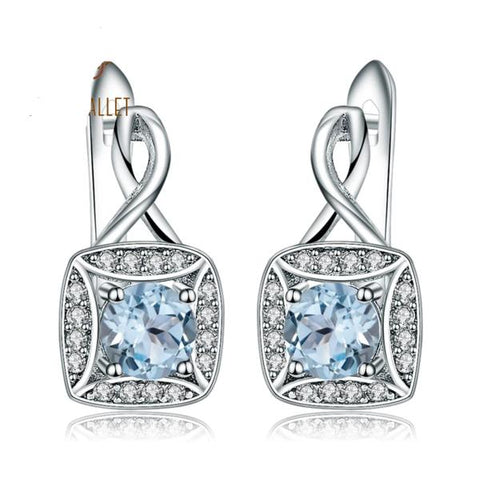 New 925 sterling silver Clip Earrings in Natural Sky Blue Topaz from Almas Collections