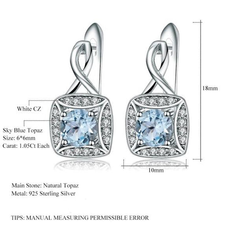 New 925 sterling silver Clip Earrings in Natural Sky Blue Topaz size from Almas Collections