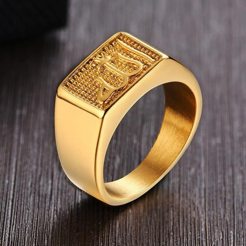 New Allah Stainless Steel Signet Ring In Gold Tone from Almas Collections