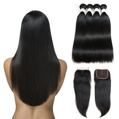 Brazilian Straight Non Remy Hair Weave Bundles With Lace Closure from Almas Collections