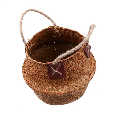 New Eco-Friendly Wicker Rattan Flower Planter Basket in Coffee Color from Almas Collections