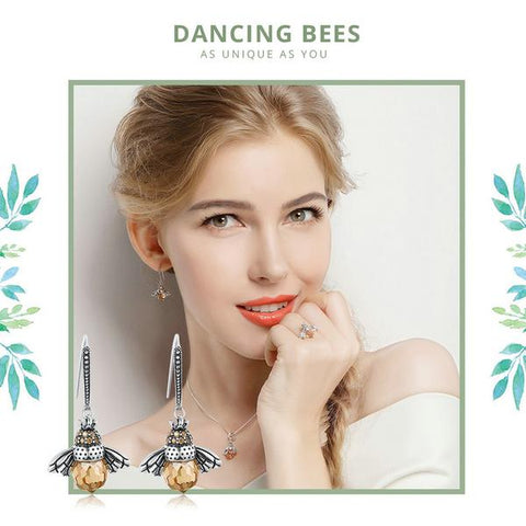 New Genuine 925 Sterling Silver Orange Bees Earrings from Almas Collections