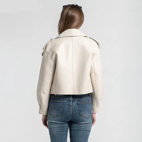 New Genuine Women Leather Jacket back view by Almas Collections