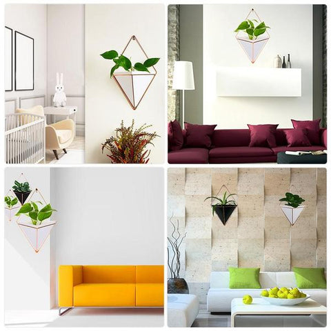 New Hanging Geometric Plant Decor Displayed in different settings from Almas Collections