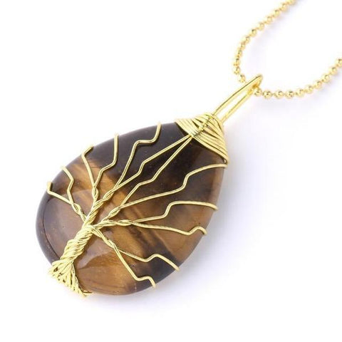 New Boho Natural Gem Stone Tree of Life Water Necklace